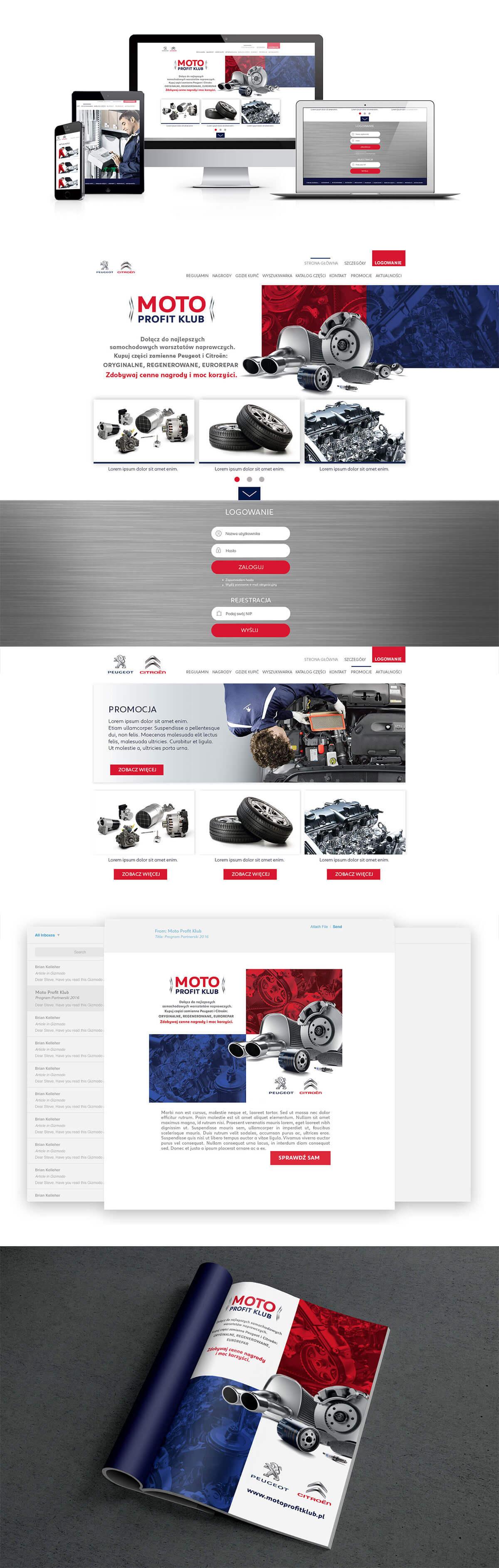 projekt strony internetowej moto profit klub