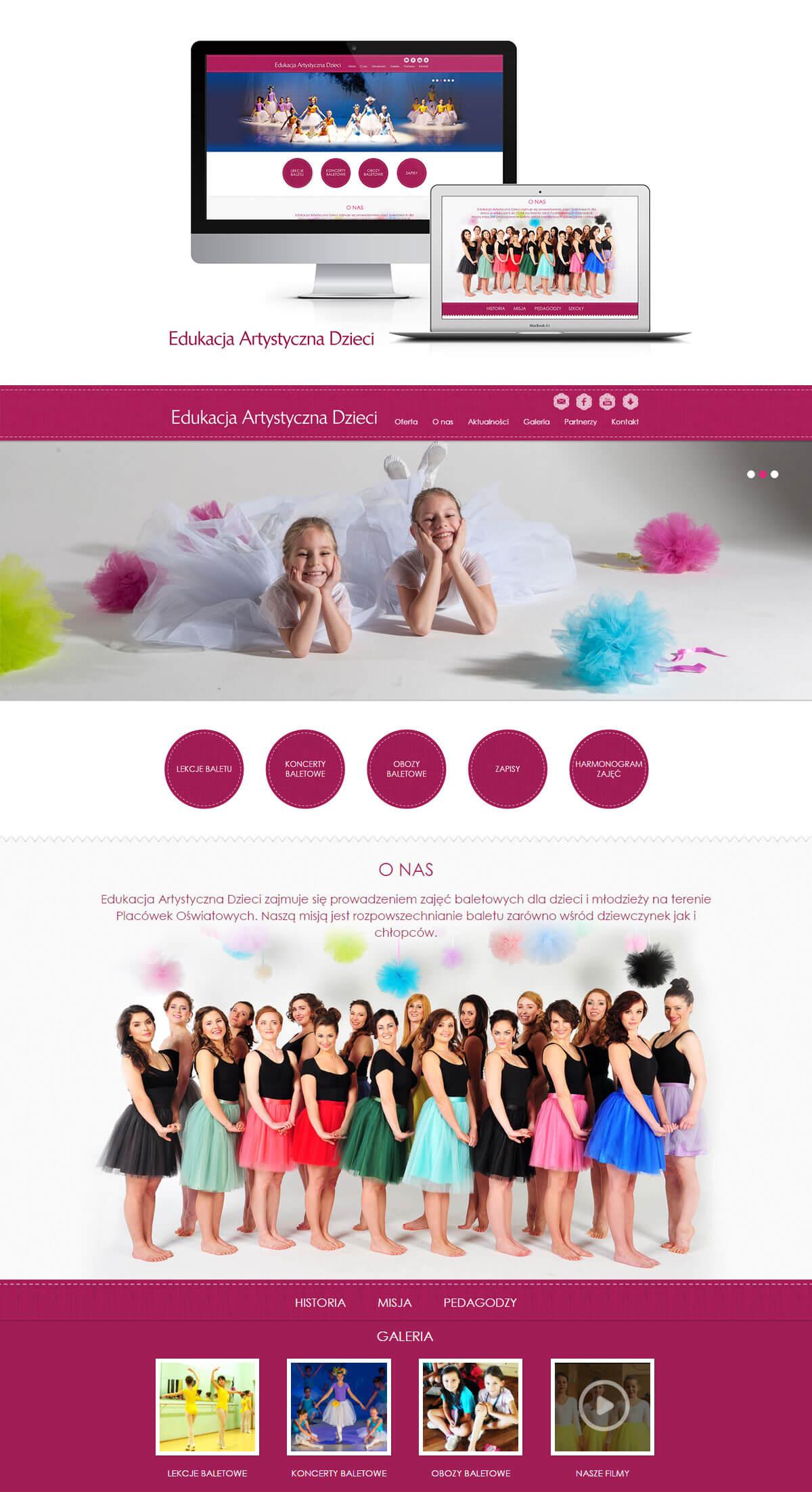 projekt strony internetowej szkoła baletowa